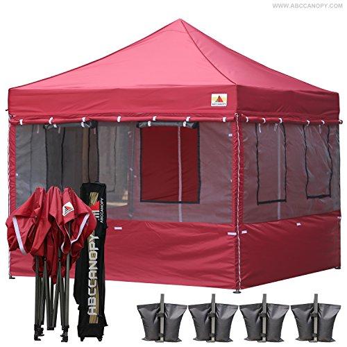 Cheap ABCCANOPY Food Vendor Tent 10×10 Food Vendor Booths 10×10 Food Service Canopy with Enclosure (burgundy) ¡