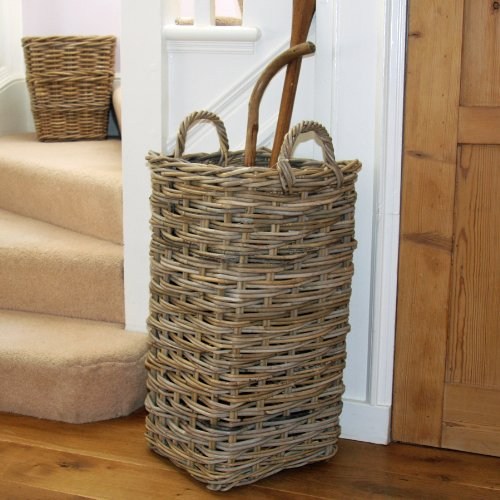 Large Rustic Rattan Wicker Willow Umbrella Sports Rackets Basket Stand Holder