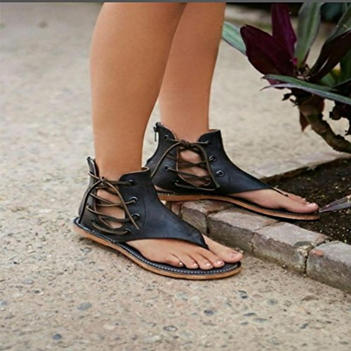Casual Straps Flat Romaines Bottomed Bout Rond Sandales 1cm Lanières Sandales Flat Low 3cm à 1 ❦❦Ankle Pinch Women SURPASS Marron Chaussures OutsideAnkle f6FxZF