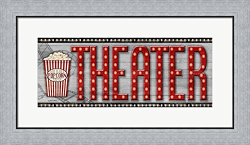 Movie Marquee Panel II (Theater) by Jen Killeen Framed Art Print Wall Picture, Flat Silver Frame, 28 x 16 ()