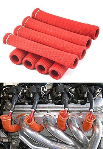 Amazingli Spark Plug Protect Boot 1600 Degree Heat Shield Thermal Protection Insulator 6 inch for Car Truck Red (Pack of 8) (Spark Shield Heat Plug)