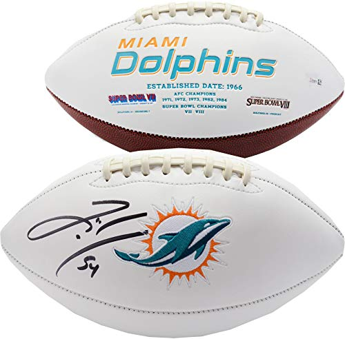 Zach Thomas Miami Dolphins Autographed White Panel Football - Fanatics Authentic Certified - Autographed Footballs Autographed Miami Dolphins Football