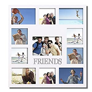 adeco pf0342decorative white wood friends wall hanging collage picture photo frame