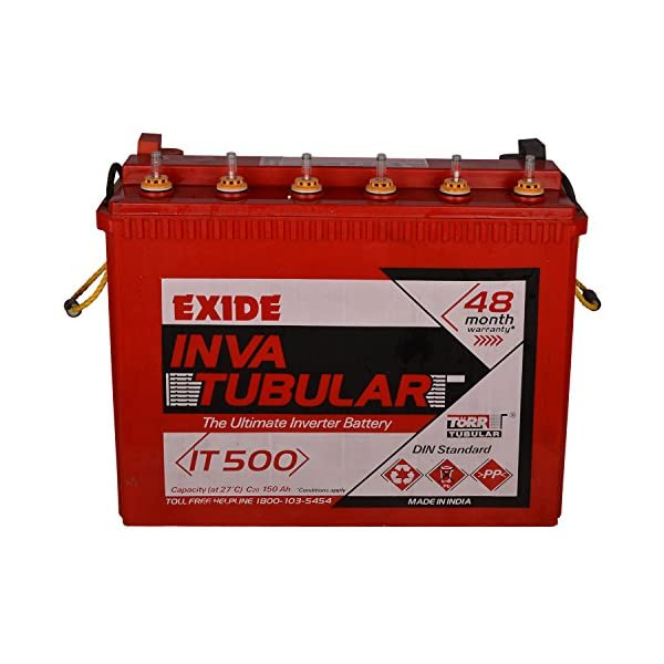 Exide Technologies Inva Tubular Battery 150Ah/12V (Red) 2021 August Nominal Voltage (in V):12 Rated Capacity (in Ah):150 Battery Type:Tall Tubular Battery