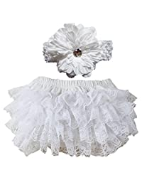 Wennikids White Lace Ruffle Infant Diaper Cover Bloomers Headband Set