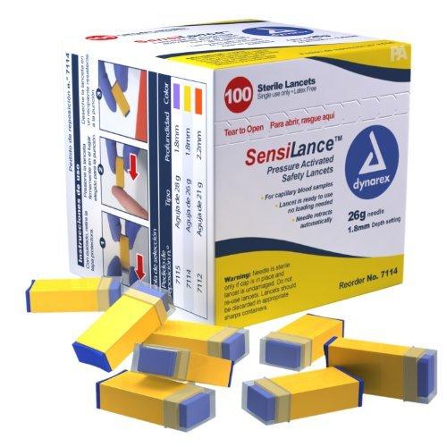 Dynarex SensiLance Safety Lancets Press Activated 26g St 10/100/Cs