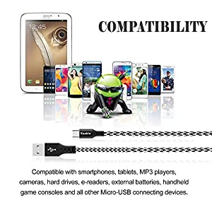 Micro USB Cable, Vanble High Speed 2.0 USB to Micro USB Sync & Charging Nylon Braided Cable for Android/Samsung/Windows/MP3/Camera and Other Device (3 Pcs, White&Black)
