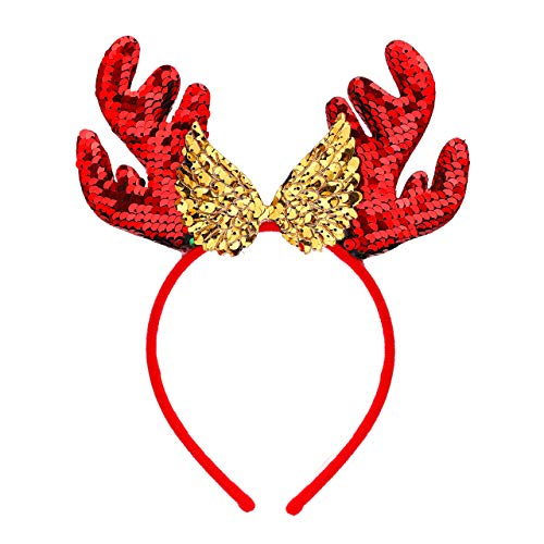 Bicolor Christmas Headband for Women Xmas Antlers Headwear Accessories-Deer Angel Wings Santa Claus Caps Snowflake Headbands Decorations for Festival Holiday Party Cosplay (Angel wings)
