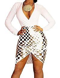 0b58e249ccb Women s Girls Sexy Long Sleeve Deep V-Neck Split Sequins Bandage Party Club  Midi Dress