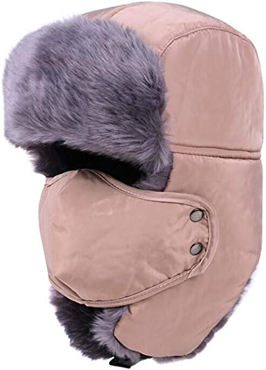 MHGLOVES Unisex Adult Winter Ear Flap Trooper Trapper Hat with Mask and Neck Warmer,Windproof Bomber Cap,Keeping Warm While Skating 1 Pcs Skiing Other Outdoor Activities,Great