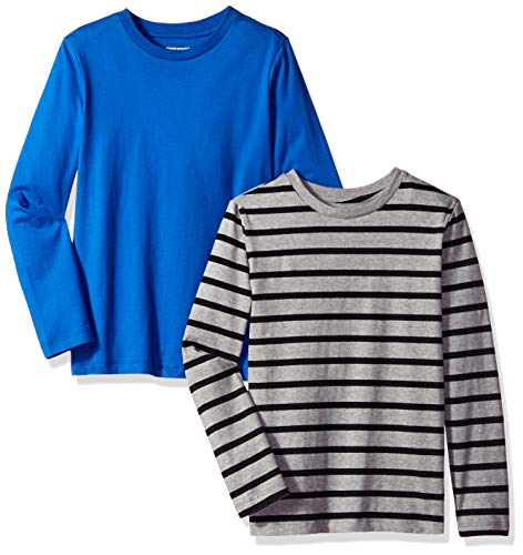 (Amazon Essentials Big Boys' 2-Pack Long-Sleeve Tees, Simple Stripe Heather Grey and Royal Blue, M(8))