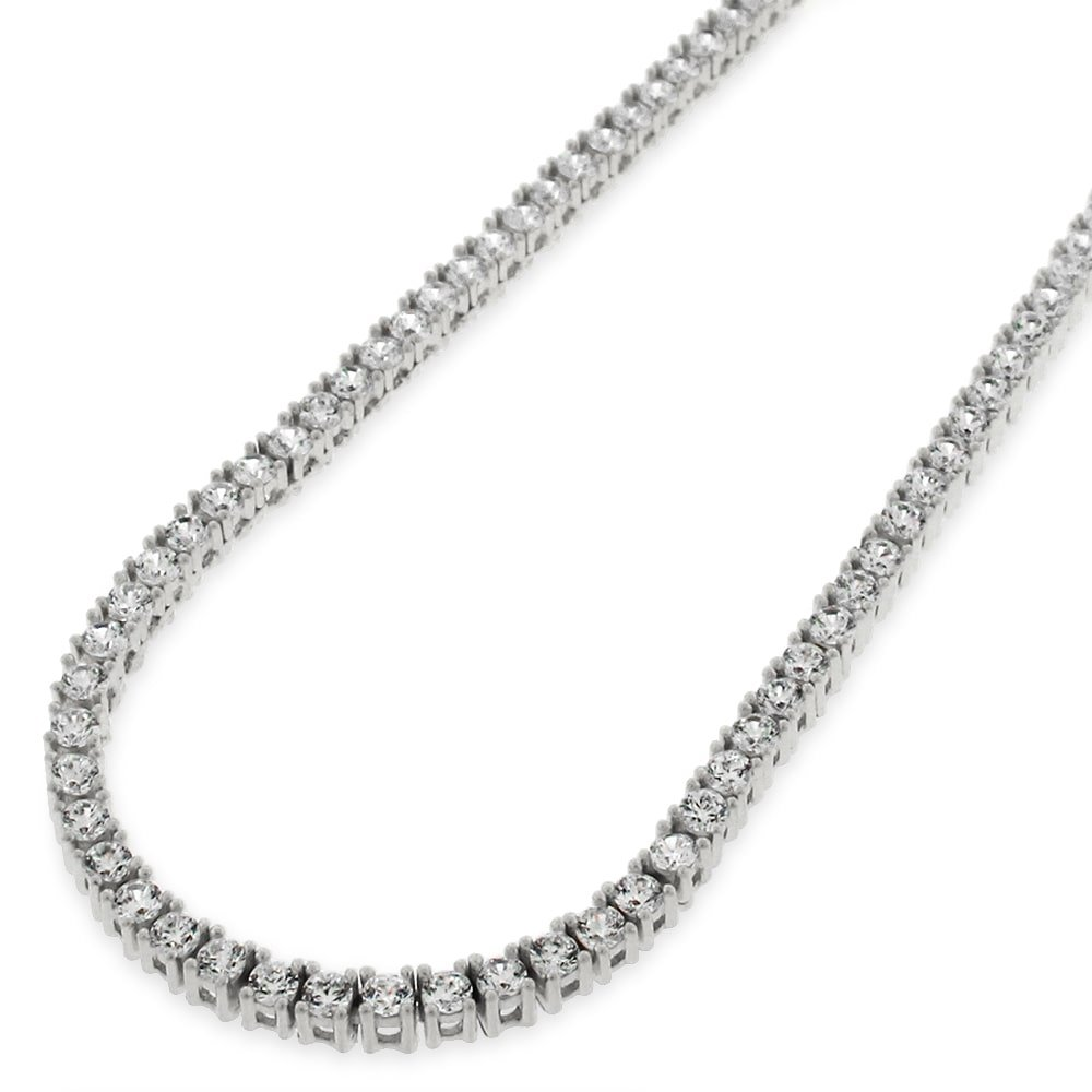 NYC Sterling Unisex Sterling Silver 3mm Cubic Zirconia Tennis Necklace