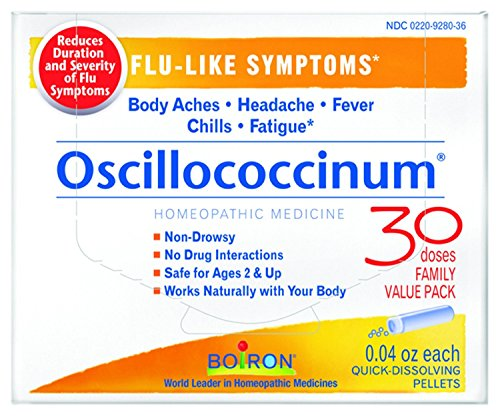 Boiron Oscillococcinum for Flu-like Symptoms Pellets, 30 Count/0.04 Oz each, Pack of 2 (0.04 Ounce Pellets)