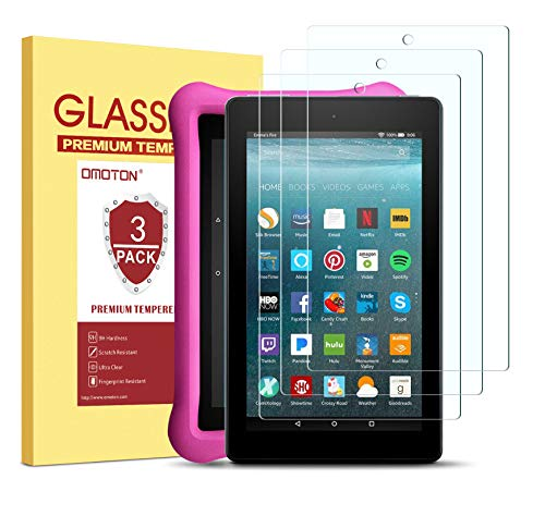 OMOTON [3Pack] Screen Protector for All-New Fire 7/ Kids Edition Tablet (9th/7th Gen, 2019/2017 Release) - Tempered Glass/High Definition/ 9H Hardness (Screen 3 Kindle)
