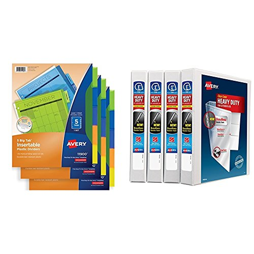 Avery Big Tab Insertable Plastic Dividers, 5-Tab Set, Multicolor, Multi Pack of 3 Sets with 1