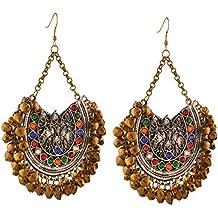 Zephyrr Fashion Oxidized Silver Afghani Tribal Dangler Hook Chandbali Earrings For Womens