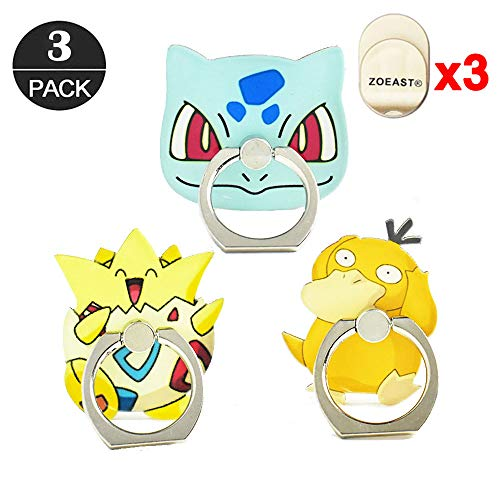 ZOEAST(TM) 3pcs Phone Ring Grip Pocket Monster Ball Pokeball Universal 360° Adjustable Holder Car Hook Stand Stent Mount Kickstand Compatible All iPhone X Plus Samsung Android iPad (3 Pack Monster)