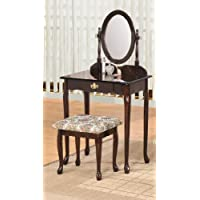 Queen Ann Vanity Set Espresso Finish