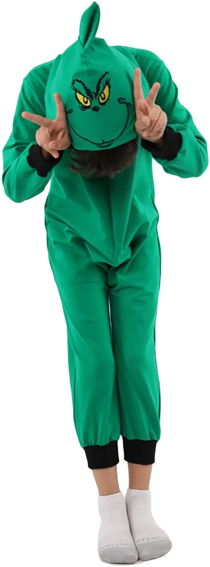 Da Mai Child Girls Boys The Grinch Jumpsuits Green Hooded Pajamas Costume Festival Play Costume