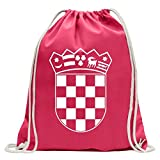 KIWISTAR - Flag Croatia Coat of Arms Fun backpack sports bag fitness Gymbag shopping cotton with drawstring