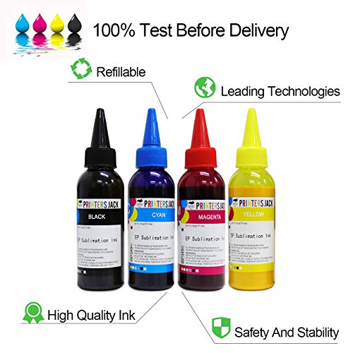 Printers Jack 400ML Sublimation Ink for Inkjet PrintersC88 C88+ WF7610  WF7010 WF7710 WF7720 WF7110 WF7210 WF3640 WF3610 WF3540 Heat Press Transfer  on