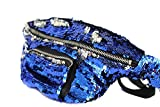 YAMATE Waist Pack, Unisex Mermaid Flake Fanny Purse Hip Bag for Outdoors Workout Traveling Casual Running Hiking Cycling (Dark Blue/Silver)