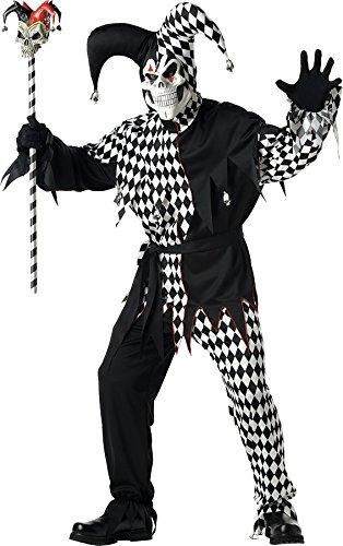California Costumes Men's Evil Jester Mardi Gras Black White L Black And White -