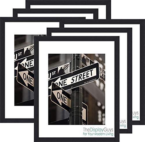 The Display Guys 16x20 Black Photo Picture Wooden Frame with Mat Board for 11x14 Image, Value 6-Pack - 16x20 & Black White Photo