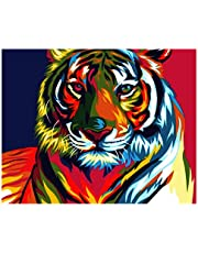 S-TROUBLE Tiger DIY Paint by Numbers Modern Wall Art Picture para niños y Adultos