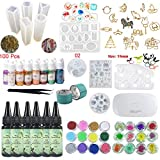 UV Epoxy Resin Kit 180ml with Silicone Molds & Bezels & Pigment & Decorations & Lamp & Tweezers, Transparent Crystal Clear No Mixing, Jewelry Making Starter Kit for Resin Crafts