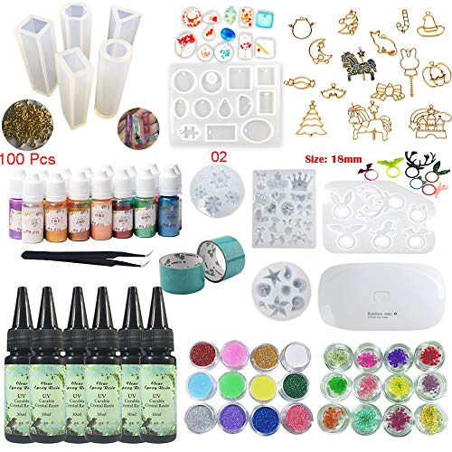 UV Epoxy Resin Kit 180ml with Silicone Molds & Bezels & Pigment & Decorations & Lamp & Tweezers, Transparent Crystal Clear No Mixing, Jewelry Making Starter Kit for Resin Crafts ()