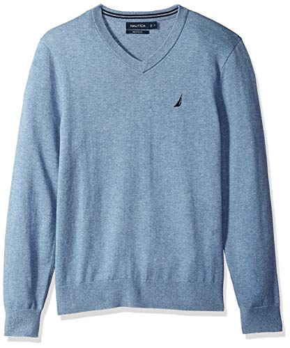 Nautica Men's Long Sleeve Solid Classic V-Neck Sweater, deep Anchor Heather, Large