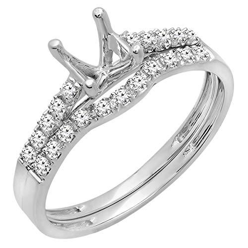 Dazzlingrock Collection 0.23 Carat (ctw) 18K Round Diamond Ladies Semi Mount Bridal Engagement Ring Set 1/4 CT, White Gold, Size 6.5