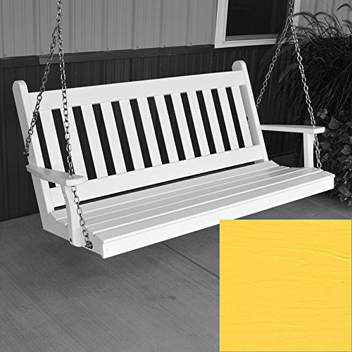 A&L Furniture Co. Traditional English Porch Swing (6 Foot, Canary Yellow Paint)