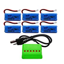 BTG 500mAh 3.7V Upgrade Battery & X6 Charger for F180C JJRC H43WH H37 H6D H6C H31 Hubsan X4 H107C H107D H107L H107P H108 JXD 392 Wltoys V939 UDI U816A Walkera Super Mini Genius CP Drone Parts