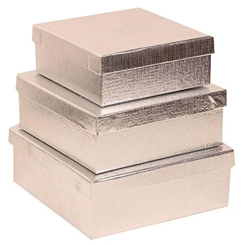 Platinum Silver Jewelry Box - JAM Paper Square Gift Box Nesting Set - Silver - 3/pack