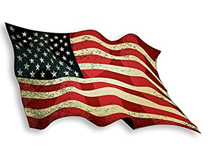 f97bfa9d467d Amazon.com  Waving VINTAGE American Flag Sticker (USA US old america ...