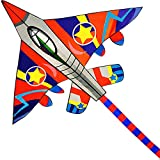 HUGE Fighter Plane Kite for Kids and Adults- 58''Wide with long tail- Easy Flyer - Kit Line and Swivel Included- Good for Outdoor Games and Summer the beach toys for kids