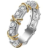 by lucky Two Tone White Sapphire Daisy Promise Skull Ring 925 Silver Women Jewelry (7)