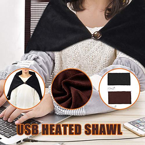 Euone  Heated Shawl, USB Soft Heated Shawl Winter Electric Warming Neck Shoulder Heating Blanket Pad (Black)