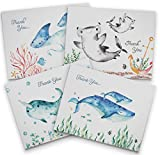 Baby Shower Thank You Cards - Ocean Themed - 12 Recycled Cards and Envelopes - 6 Unique Note Card Designs - Made in USA