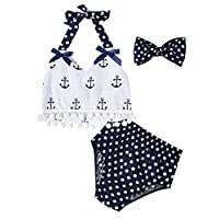 Kidlove Newborn Baby Girl Clothes Anchor Tops Polka Dot Briefs Sunsuit Outfit White 0-6M