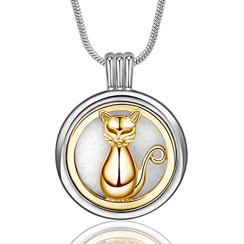 (INFUSEU Cat Pendant Necklace Aromatherapy Essential Oil Diffuser Jewelry Two-Tone Locket with 12PCS Refill Replacement Pads (Gold))