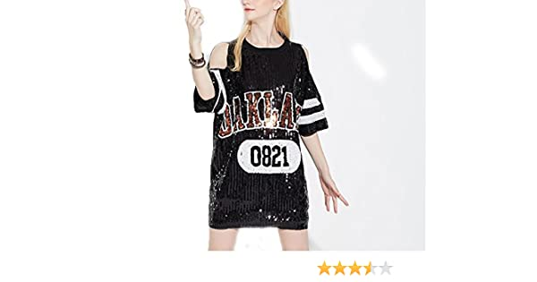 75d9f825e115c Woman Club Dress Sequin T Shirt Dress Plus Size Tee Shirts Glitter Tops  Summer 0821black One Size at Amazon Women s Clothing store