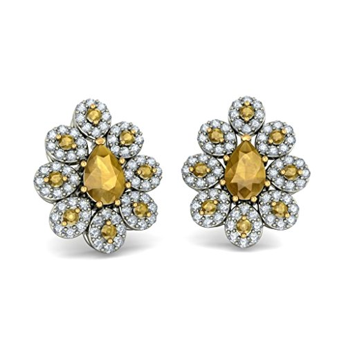 Or blanc 14K 0,64CT TW Round-cut-diamond (IJ | SI) et citrine Boucles d'oreille à tige