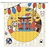 Japanese Style Shower Curtain,Tourism Culture Traditional Festivel Temple Lantern Cartoon Bathroom Decor Set with Hooks,71X71 Inchs,Fabric,Yellow Red Blue