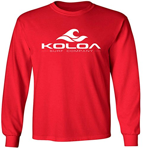 (Koloa Classic Wave Youth Long Sleeve Heavyweight Cotton T-Shirts Red)
