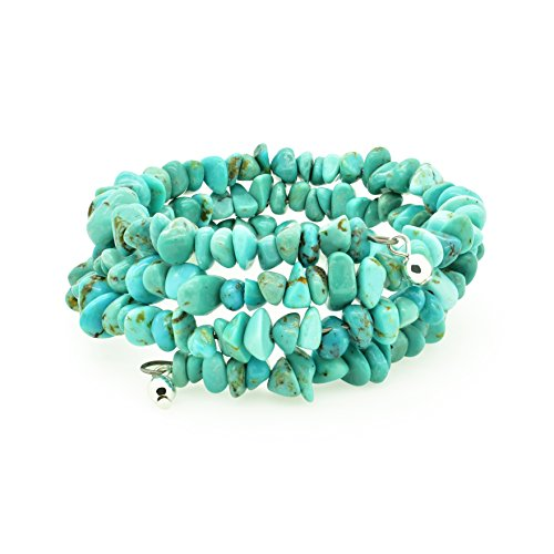 Bluejoy Jewelry Genuine Natural Turquoise Memory-Wire Stretchy Bracelet with 4-6mm Baby-Size Turquoise Chip Beads (Medium)