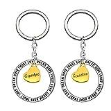 Key Chain Ring Set Grandpa Grandma 2pcs Pendant Key Hook Gifts for Grandparents Wedding Anniversary Day
