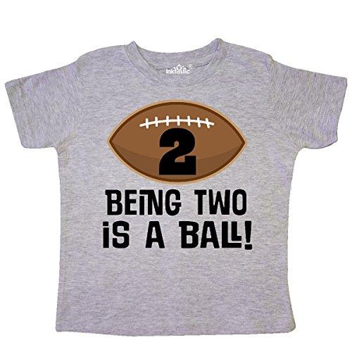inktastic 2nd Birthday Football Sports Boys Toddler T-Shirt 2T Heather Grey